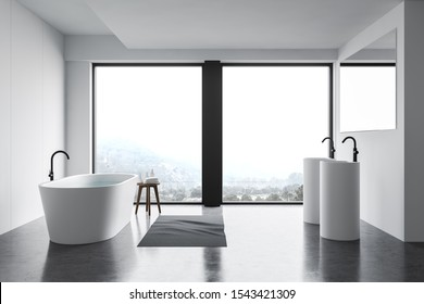 Interior of panoramic bathroom with white and panel walls, concrete floor, comfortable bathtub, double round sink with large mirror and window with beautiful view. 3d rendering