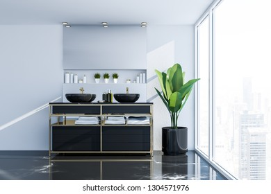 Interior of panoramic bathroom with white walls, black marble floor and double sink standing on black countertop with horizontal mirror above it. 3d rendering