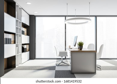 Interior of panoramic CEO office with grey walls, carpeted floor, white computer table with chairs for visitors and bookcase with folders. Windows with blurry cityscape. 3d rendering