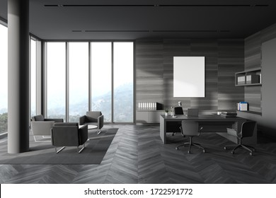 Interior of panoramic CEO office with grey and wooden walls, wooden computer desk, vertical mock up poster and lounge area with armchairs. Windows with blurry mountain view. 3d rendering