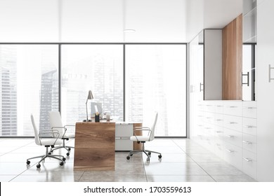 Interior of panoramic CEO office with white and wooden walls, tiled floor, computer table with chairs for visitors and bookcases with folders. Blurry cityscape. 3d rendering