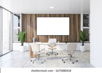 Interior of panoramic CEO office with wooden walls, tiled floor, comfortable computer table with white chairs for visitors. Horizontal mock up poster frame. 3d rendering