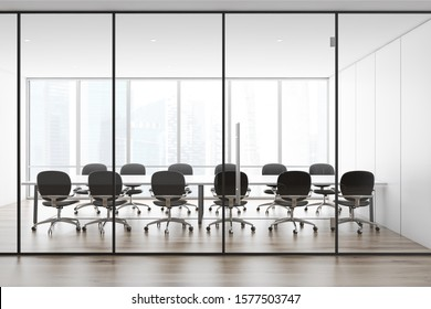 Interior of panoramic conference room with white panel walls, wooden floor, long table with black armchairs. Concept of discussion. 3d rendering