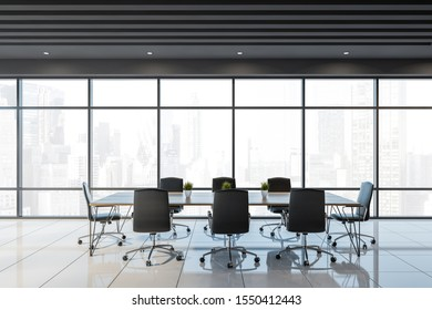 Interior of panoramic office meeting room with gray ceiling, white tiled floor and long conference table with black chairs. 3d rendering