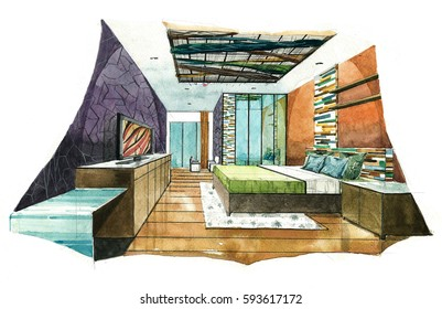 Interior+perspective+living+room+watercolor Images, Stock