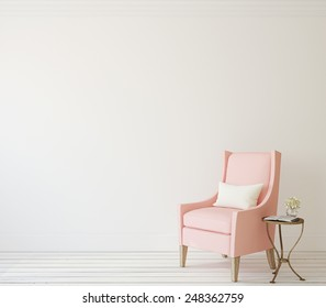 Interior with pink armchair near white wall. 3d render.