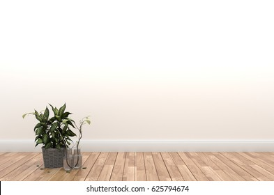 Interior with plants on empty wall background,3D rendering