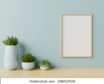 Interior with plants, posters on empty blue wall background ,3D rendering