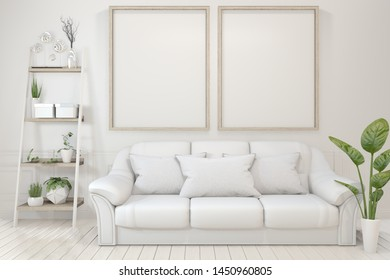 Interior poster mock up with  empty wooden frames, sofa, plant and lamp in empty room with white wall. 3D rendering
