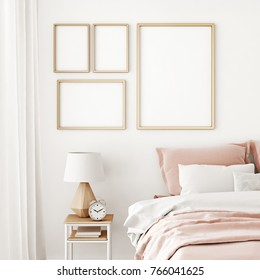 Interior poster mock up with four frames on the wall in home bedroom interior. 3D rendering.