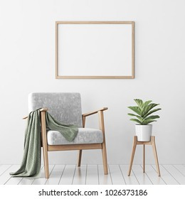 Interior poster mock up with horizontal empty wooden frame, gray armchair and tree in wicker basket in room with white wall. 3D rendering.