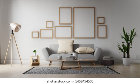 Interior poster mock up living room with colorful white sofa . 3D rendering.