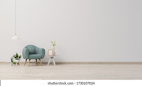 Interior poster mock up living room with armchair on empty white wall background,3D rendering
