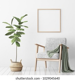 Interior poster mock up with square empty wooden frame, gray armchair and tree in wicker basket in room with white wall. 3D rendering.