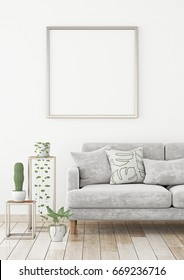 Interior poster mock up with square frame on the wall in scandinavian style livingroom. 3d rendering.