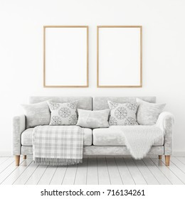Interior poster mock up with two frames on the wall above velvet sofa with pillows and plaid. 3D rendering.