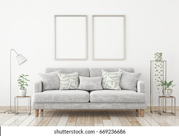 Interior poster mock up with two metal vertical frames on the wall in scandinavian style livingroom. 3d rendering.