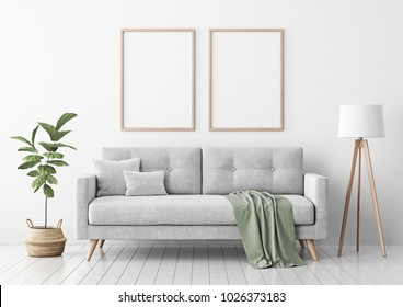 Interior poster mock up with two vertical empty wooden frames, gray sofa, plant and lamp in living room with white wall. 3D rendering.