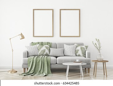 Interior poster mock up with two vertical frames hanging over a sofa in scandinavian style livingroom. 3d rendering.