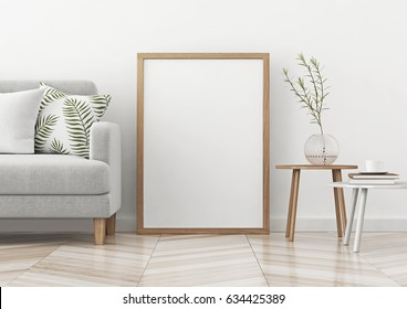 Interior poster mock up with vertical frame standing on the floor in scandinavian style livingroom. 3d rendering.