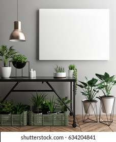 Interior poster mock-up with empty  frame and plants in the room. 3D rendering.