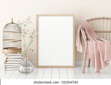 Interior poster mock-up with empty wooden frame and plants on white wall background. 3D rendering.