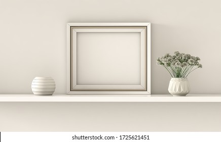 Interior poster mockup with horizontal white frame standing on the table with plants in pots on empty wall background. 3D rendering.