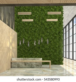 Interior with a reception desk in the loft style. 3d visualization