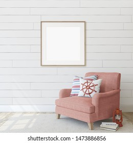 Interior with red armchair near white wall. Coastal style. Interior and frame mockup. Square frame on the wall. 3d render.
