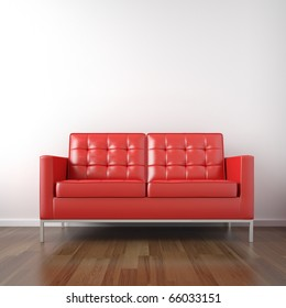 interior of red leather couch in a white room