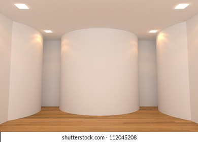 Interior rendering with empty room color curve wall and decorated with wooden floors.