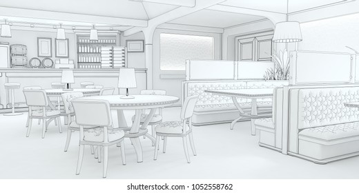 Interior of the restaurant 3d illustration stylized with a pencil sketch, drawing lines