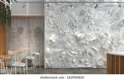 The interior of the restaurant hall or cafe with white monochrome composition of relief figures of foods and drinks. Modern creative unexpected interior design in loft style. 3D rendering