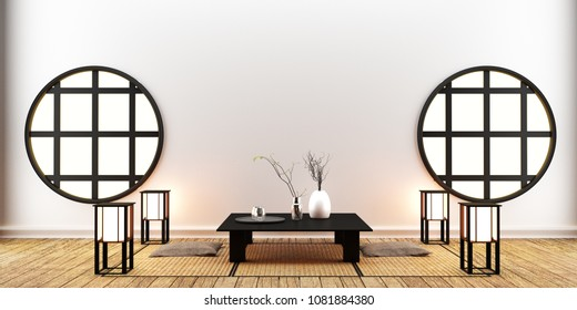 interior room design , Japanese style. 3D rendering