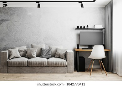 Interior of a room with gray sofa and table with PC and white chair, gray concrete wall, track lights on ceiling, home interior, work from home concept, 3d rendering