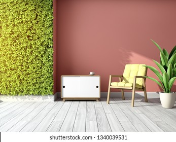Interior of room with green wall of vertical gardens. 3D illustration.