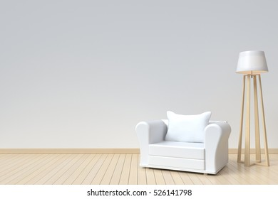 Interior room has a  white sofa and  lamp on empty white wall background,3D rendering