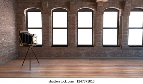 Interior room with old bellows camera on easel, daguerreotype, apartment, 3d illustration