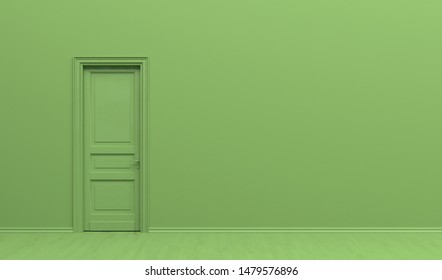 The interior of the room  in plain monochrome green color with single door. Green background with copy space. 3D rendering illustration.