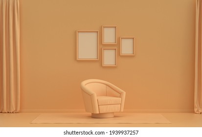 Interior room in plain monochrome orange pinkish color, 4 picture frames on the wall with single chair, without plant for poster presentation. 3D rendering
