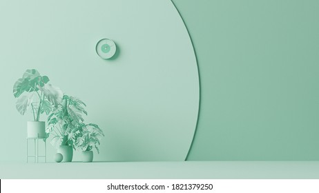 Interior of the room in plain monochrome pastel blue color with furnitures and room accessories. Light background with copy space. 3D rendering for web page, presentation or picture frame backgrounds.