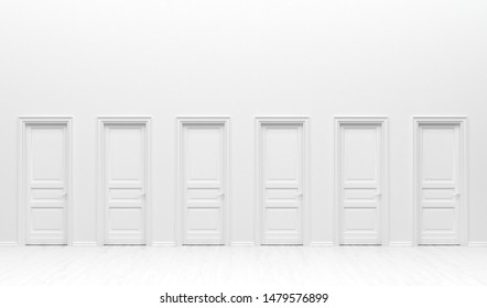 The interior of the room  in plain monochrome white color with many monotone doors. White background with copy space. 3D rendering illustration.