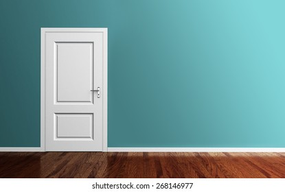 Interior room with white door,wood floor and blue wall 3d render