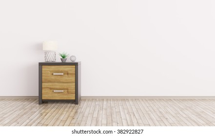 Interior of a room with wooden cabinet over white wall 3d render