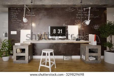 interior rustic home office 3 d stock illustration 329829698