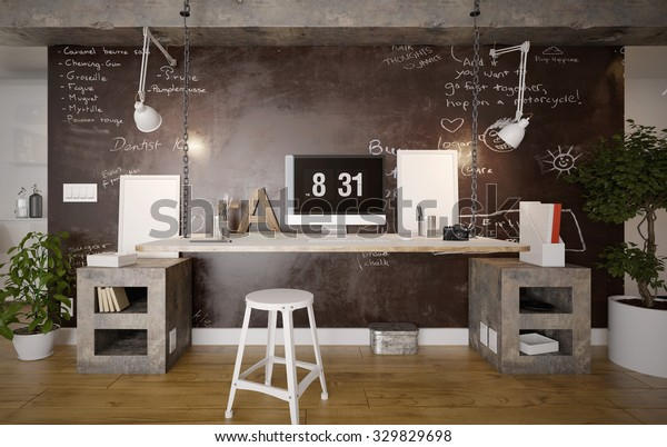 Interior of a rustic home office - 3 d render using 3 d s Max