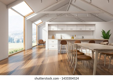 Interior of Scandinavian kitchen with white walls, wooden floor, white countertops, bar with stools and dining table with chairs. Loft windows. 3d rendering