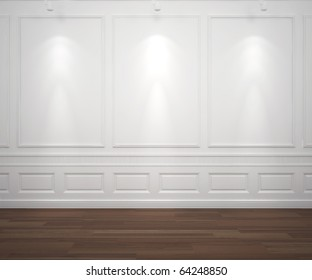 interior scene of classic white empty wall illuminated by 3 spotlights, big copy space
