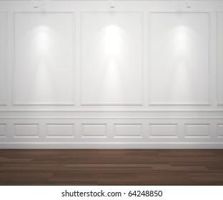 interior scene of classic white empty wall illuminated by 3 spotlights, big copy space