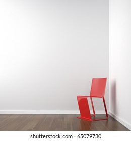 interior scene of clean white corner room with red chair copy space on the wall